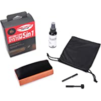 5 in 1 Vinyl Record Cleaning Solution Kit, Includes Soft Velvet Record Brush, Vinyl Cleaning Liquid, Stylus Cleaner & Brush and Carry Pouch