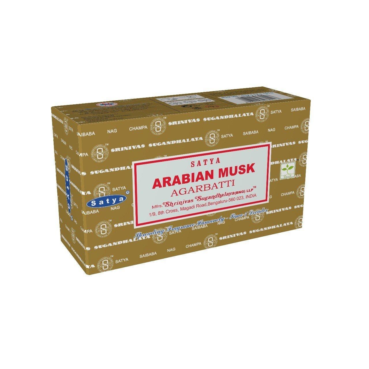Satya Bangalore (BNG) Arabian Musk Incense Sticks 12 boxes x 15 g (180 grams total)