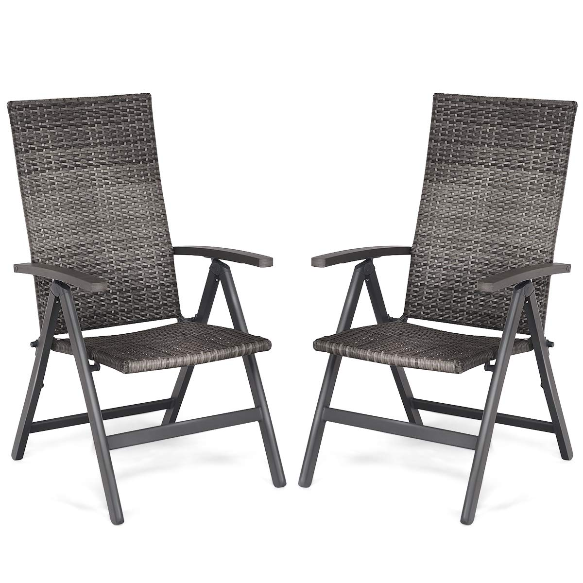 Tangkula 2 PCS Rattan Folding Chairs Outdoor Patio Garden Pool Wicker Chairs with 5 Adjustable Positions Back Adjustable Camping Rattan Reclining Chairs Folding Portable and Beach Deck Chair with Arm