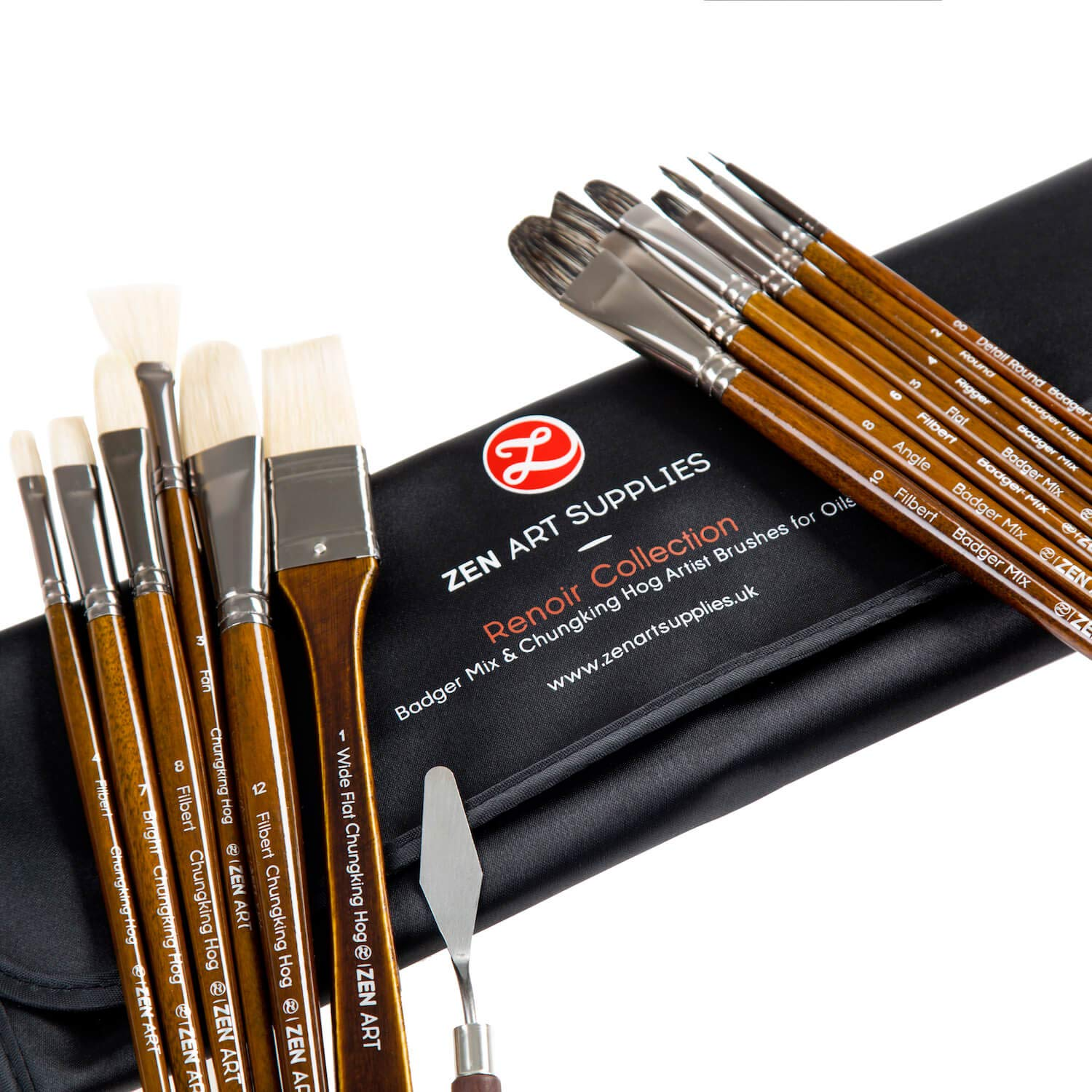 Professional Oil & Acrylics Artist Brushes - Long-lasting Badger/Japanese Synthetic blend, Chungking hog - Lacquered Birchwood Long Handles - Elegant Rollup Case - 14 pcs Renoir Collection by ZenArt ZenArt Supplies