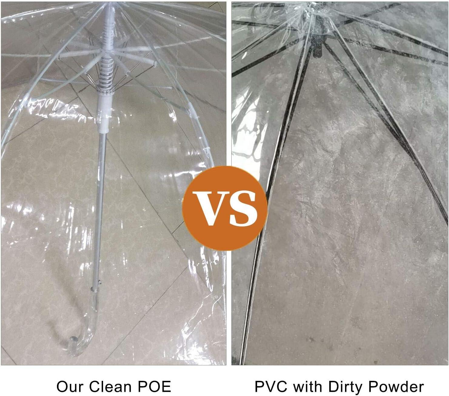 Lejorain Clear Bubble Umbrella 50inch Auto Open Classic Dome Transparent Plastic Hook Handle Fashion Stick Umbrella for Wedding