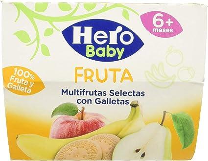 Hero Baby Fruta Tarrinas de Puré Multifrutas Selectas con Galletas para Bebés a partir de 4 meses Pack de 6 de 4x100 g: Amazon.es: Alimentación y bebidas