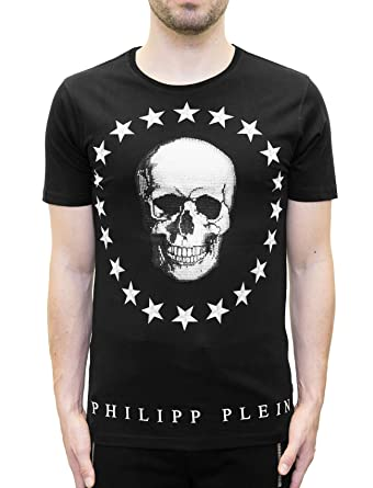 be7961a330 Philipp Plein - Coleman - T-Shirt with Skull and Stars Print Black:  Amazon.co.uk: Clothing