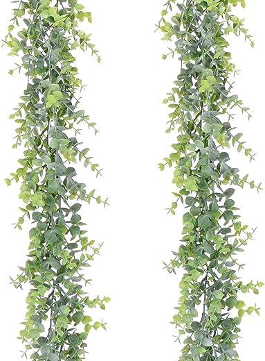 YQing 2 Piezas Eucalipto Artificial Guirnalda, Hojas de eucalipto Eucalyptus Guirnaldas Seda Hojas Vines Artificiales Decoracion Boda Fondo Pared Decoración