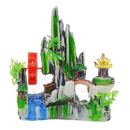 Saim - Mochila Decorativa para Acuario, Decoración de Acuario, Resina, Color Rojo,