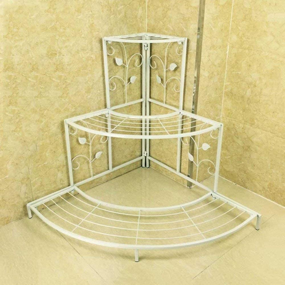 Soporte de flores para macetas de hierro, 3 niveles, escalera de esquina, estilo europeo, interior/exterior, 3 colores, 60 x 65 cm, 75 x 85 cm (color: blanco, tamaño: S), blanco