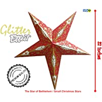 UNIq Paper Star Lantern with Glitter Effects, Big Paper Lamp Star for Christmas Xmas Party Birthday Year's Home Hanging Decorations