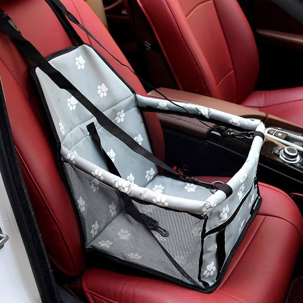 VGQEIU Pet Car Booster Seat Folding/&Waterproof Dog Car Seat Carrier with Seat Belt /&Storage Bag for Dogs and Cats Perfect for Small and Medium Pets Gray