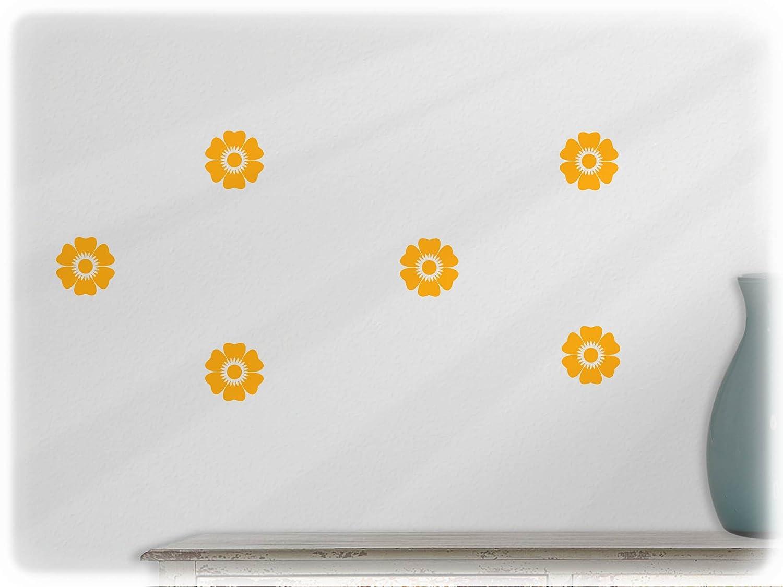 wandfabrik - 6 Blumen (Bl1) in weiß - Wandtattoo geeignet als Dekoration Klebefolie Wandbild Wanddeko Tiere für Wohnzimmer Kinderzimmer Babyzimmer Badezimmer Fliesen Tapete Küche Flur Wohnung und Schlafzimmer für Junge Mädchen Bab