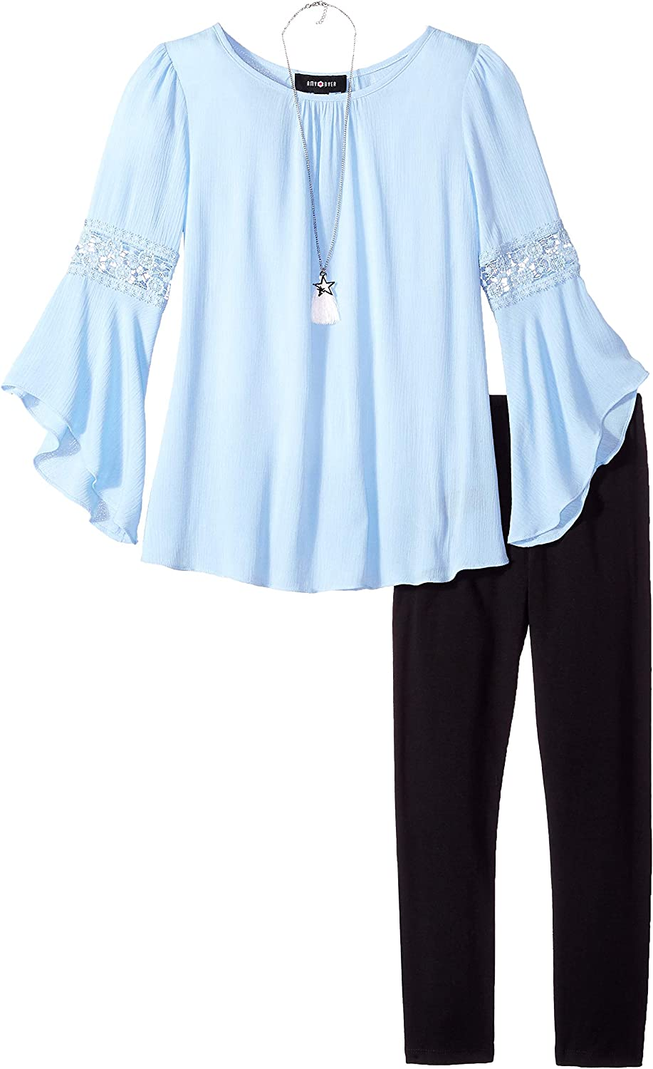 Amy Byer Girls Bell Sleeve Top and Leggings 2-Piece Set with Necklace