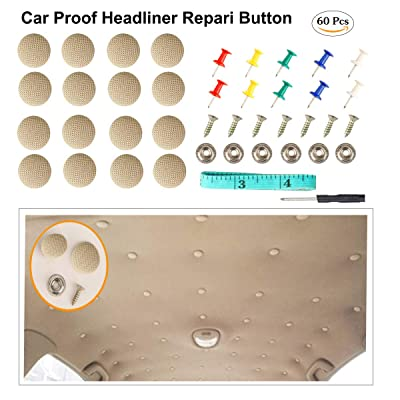 QITONG Car Proof Repair Rivets Headliner Repair Button,60 pcs Auto Roof Snap Rivets Retainer Design for Interior Ceiling Cloth Fixing Screw Cap Roof Repair Buckle for All Cars(Grey Beige Grid): Automotive