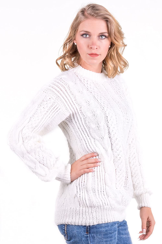 651b28ad71100b Gamboa - Hand-Knit Alpaca Sweater - Stylish Sweater for Women - White at  Amazon Women's Clothing store: