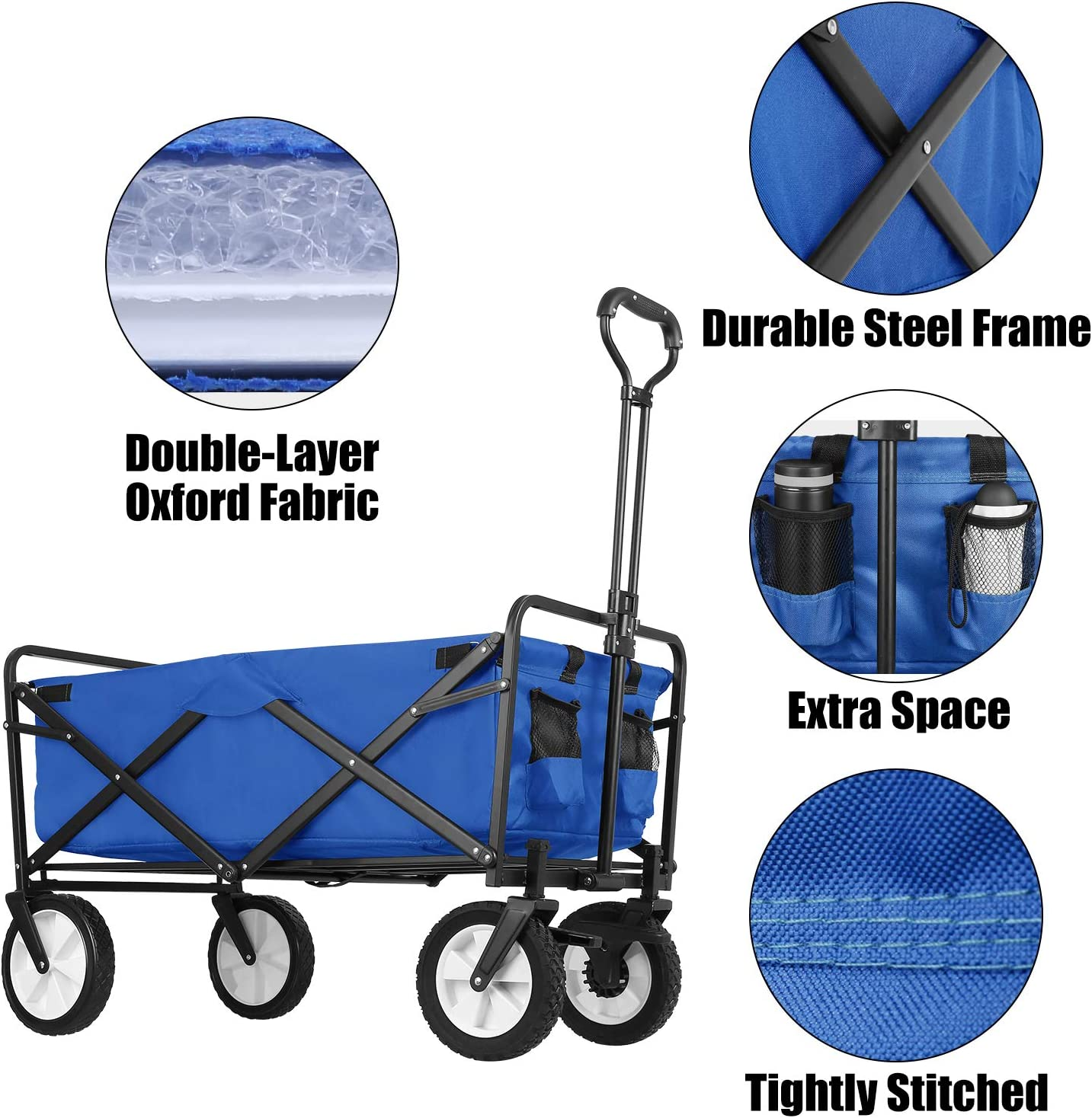 Heavy Duty Folding Outdoor Garden Cart Double Fabric SNAN Collapsible Utility Wagon Sports Rubber Wheels W//Brake and Drink Holder Green Suit for Garden Camping Picnic Adjustable Handles