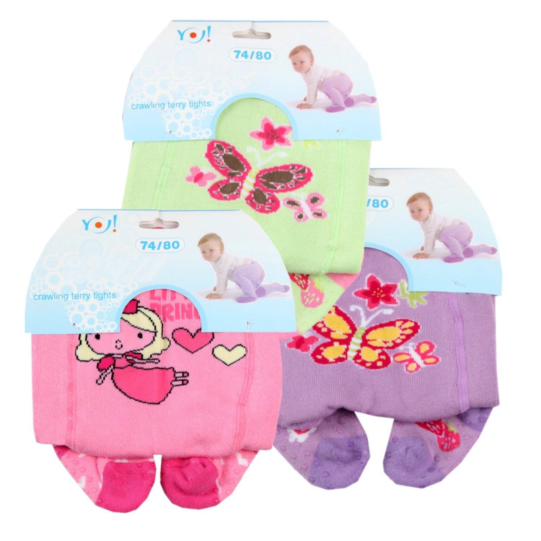 RA-18 Baby Girls' Anti-Slip Terry Crawling Tights (Set of 3) Multi-Coloured 86–92 cm (18–24 Months) Yo RA-18 Girls