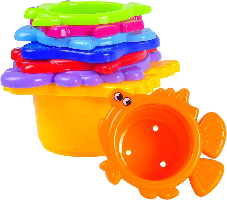 MooToys Under the Sea Tazas de ba/ño MT-109 Colores brillantes arena apilables para ni/ños y ni/ñas