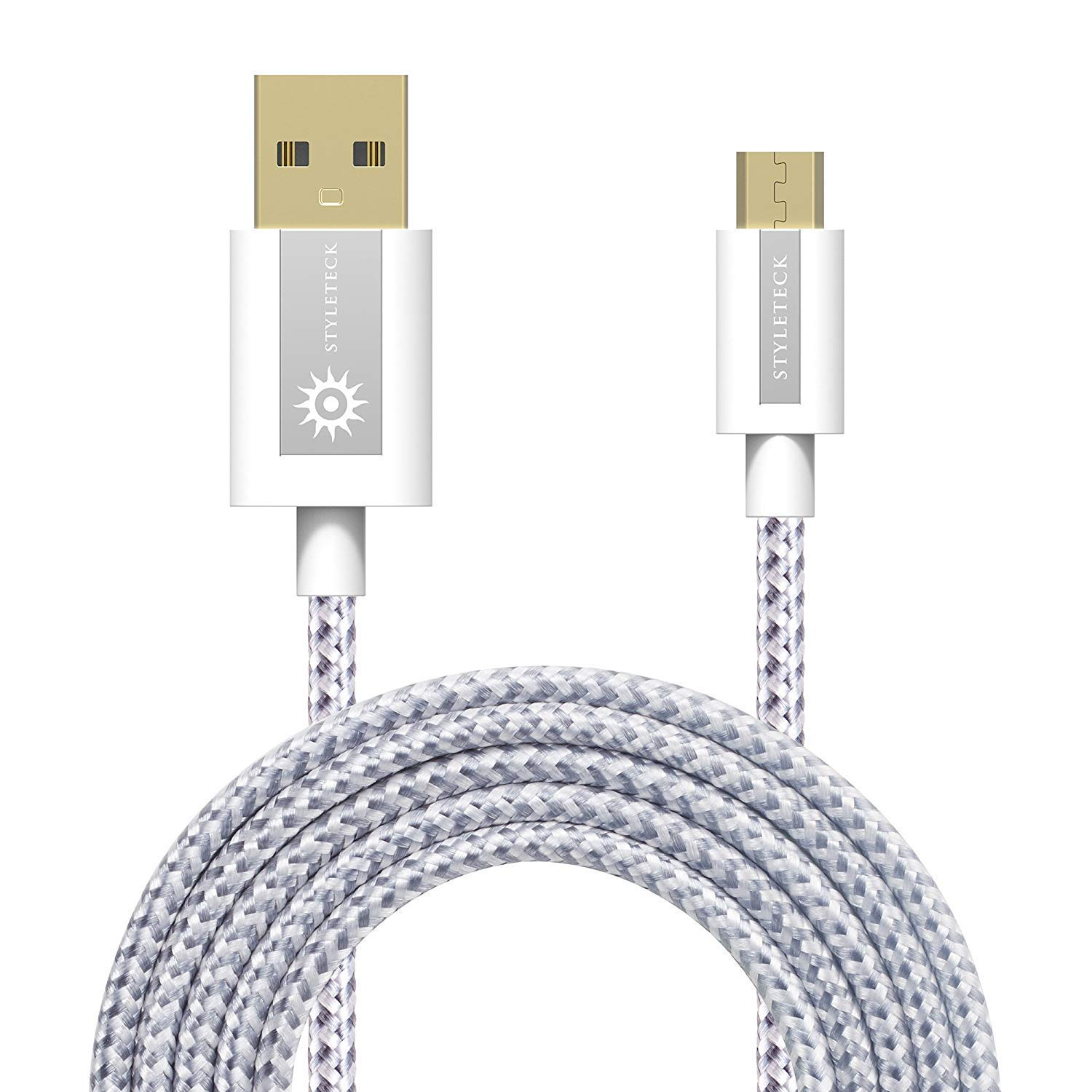 STYLETECK Cable Micro USB 2M, Carga Rápida Trenzado Nylon, Cable Cargador Movil y Fast Datos Sincronización Compatible con Samsung Galaxy S7/S6 Edge, ...