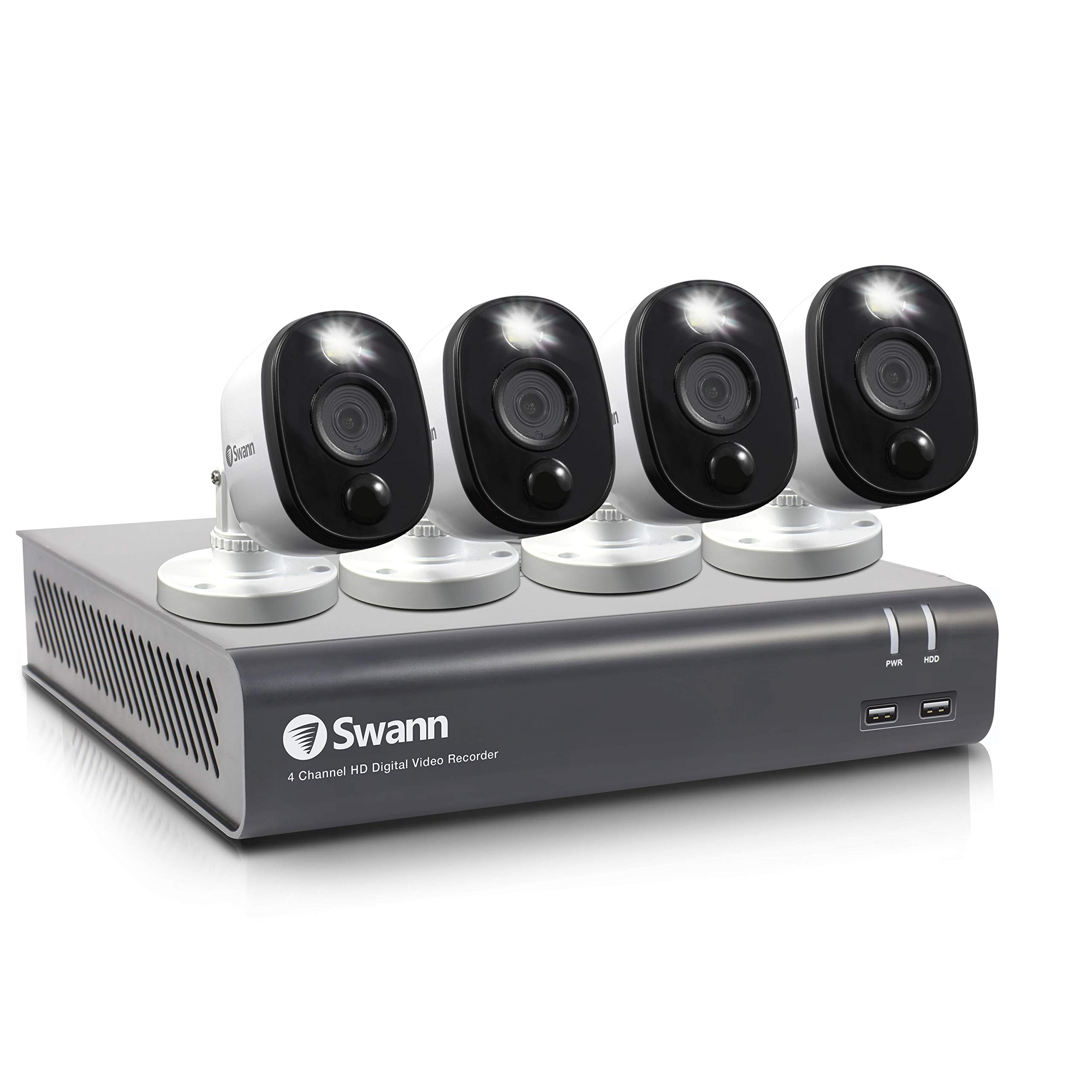 Swann 4 Channel 4 Camera Security System, Wired Surveillance 1080p HD DVR 1TB HDD, Audio Capture, Weatherproof, Color Night Vision, Heat & Motion Sensing Warning Light, Alexa + Google, SWDVK-445804WL by Swann