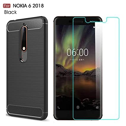 new arrivals 51c50 743f8 Nokia 6.1 2018 Case, Nokia 6 2018 case,with Nokia 6 2018 Screen Protector.  MYLB (2 in 1)[Scratch Resistant Anti-Fall] Fashion Soft TPU Shockproof Case  ...