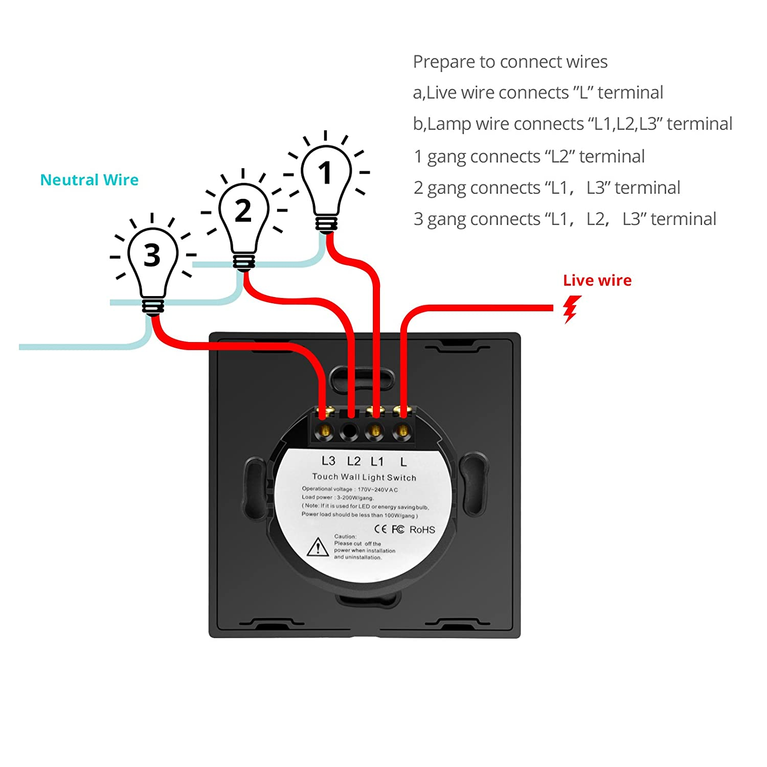 Led Smart Touch Swith With Wireless Remote Control220v 245v 3 Wire 220v Diagram At Panel Standard Crystall Glass Switch For