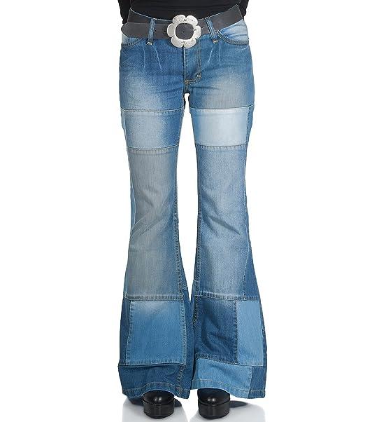 b6d448d94a5f Pantalones vaqueros para mujer, de campana, estilo patchwork: Amazon ...