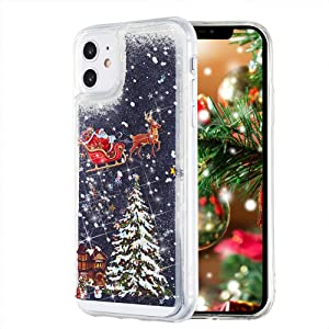 Christmas Case for iPhone 12 Mini, TIPFLY, Liquid Luxury Fashion Flowing Quicksand Soft Clear Bumper Shockproof Bling Sparkle Women Girls Case for iPhone 12 Mini 5.4 inches(Christmas Eve-Black)