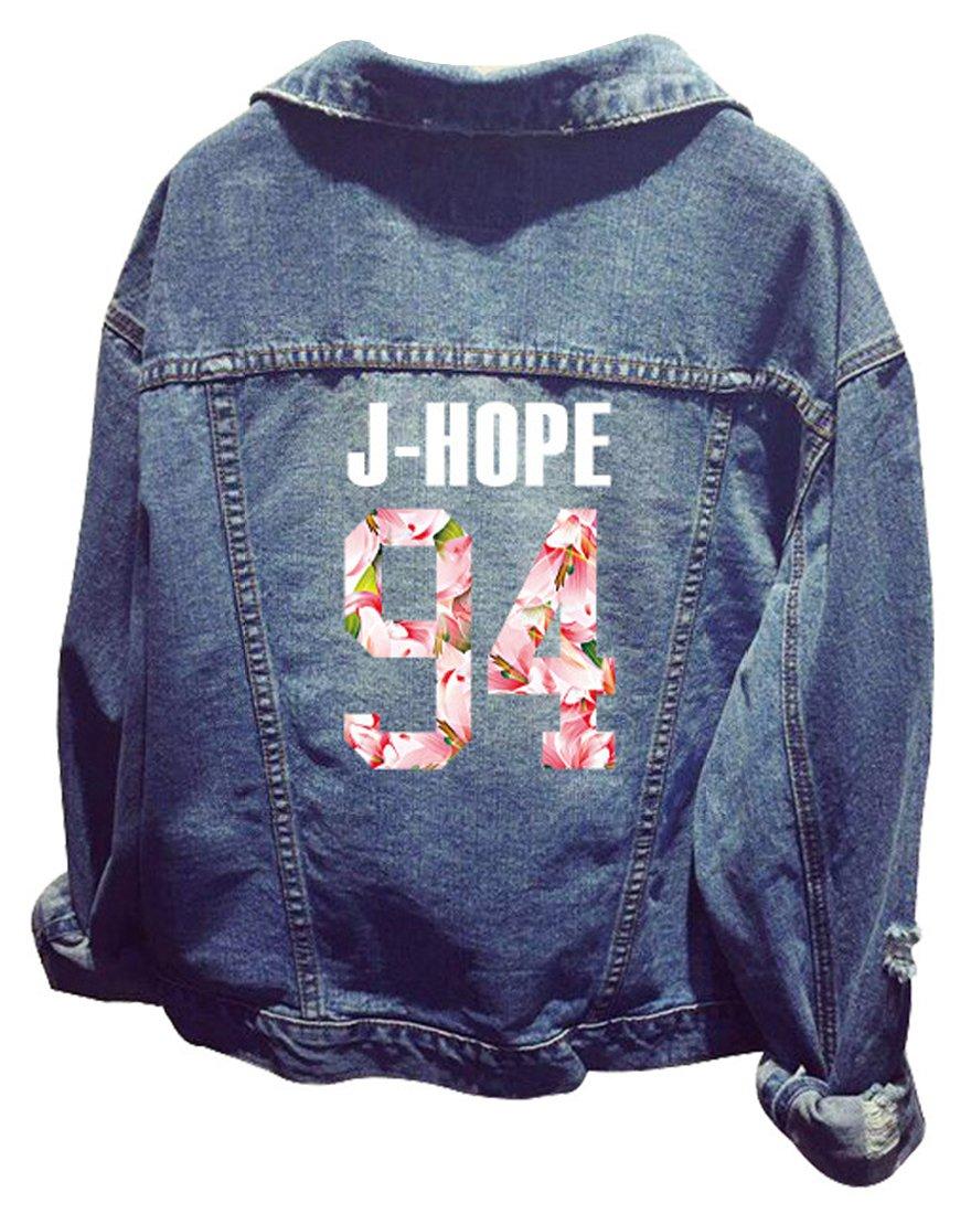 EMILYLE Damen Kpop BTS Jeansjacke Bangtan Jungen Langarm Jeans Mantel Jin Suga J-Hoffnung RM Jimin V Jung Kook Oberbekleidung 92) AETS02192rbXL1