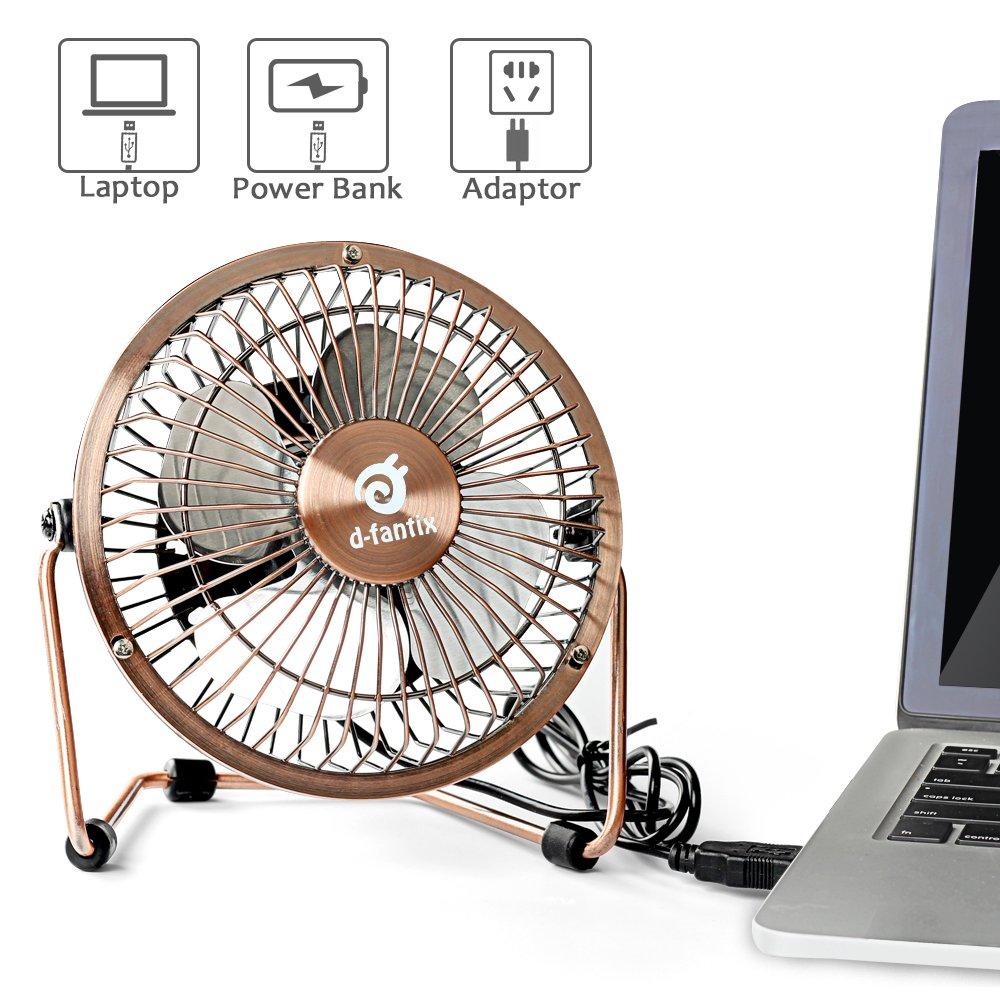 Design M/étal D-FantiX Mini Ventilateur de Table Bronze 4 pouces Ventilateur puissant et silencieux