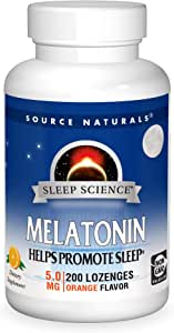 Source Naturals Sleep Science Melatonin 5 mg Orange Flavor - Helps Promote Sleep - 200 Lozenge Tablets