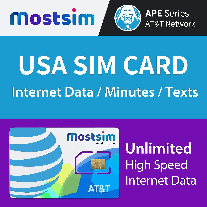 MOSTSIM - AT&T EE.UU. Tarjeta SIM 18 Días, Datos a Alta Velocidad/Llamadas/Mensajes de Texto Ilimitados, Red AT&T para EE.UU.: Amazon.es: Electrónica