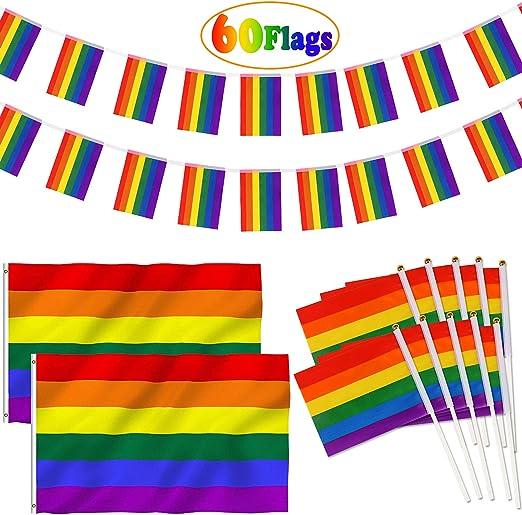 vamei Rainbow Lesbiana Bandera del Orgullo Gay con 1 Pieza ...
