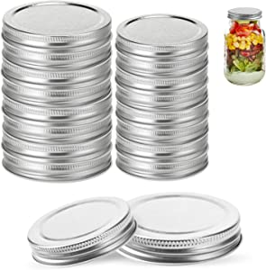 Mason Jar Lids16 Pack,8 Wide Mouth & 8 Regular Spout Can Lids,Food-Grade Storage Caps for Mason Jars, Leak Proof and Air Tight and Fits Ball, Kerr & More(silver)
