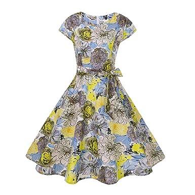 482703e428c4 MEIbax Women Vintage Bodycon Short Sleeve Casual Retro Evening Party Prom  Swing Dress  Amazon.co.uk  Clothing