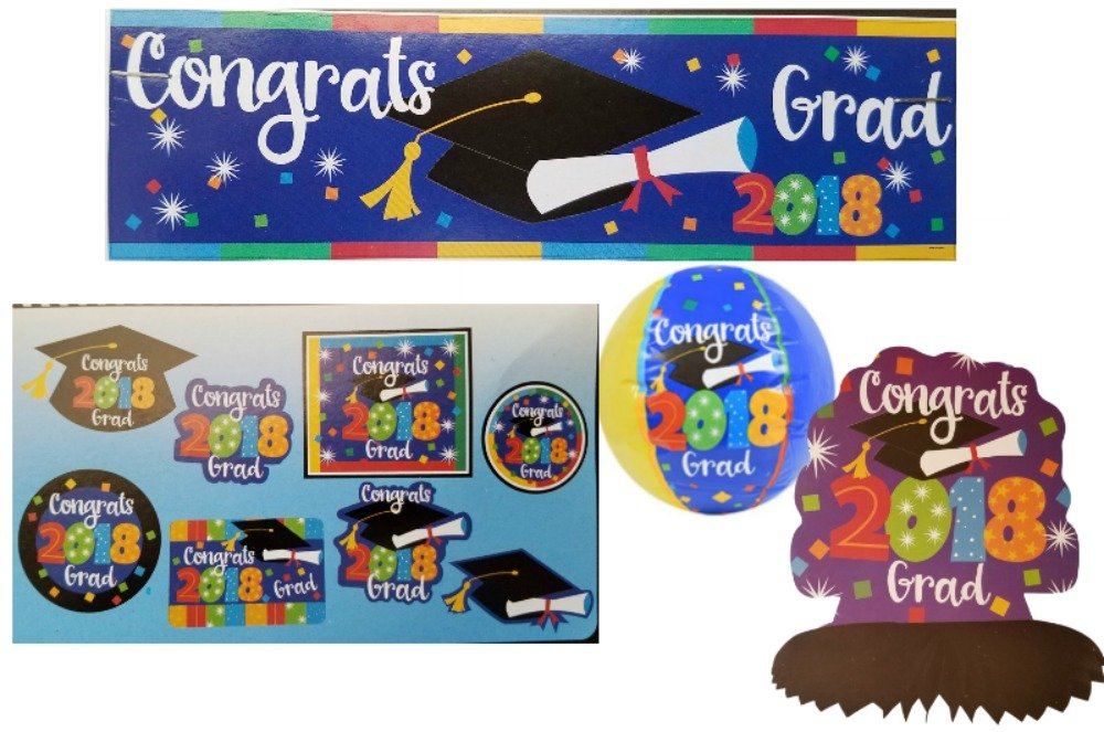 2018 Graduation Party Decorations Bundle: Accessories Include Congrats 2018 Grad Party Banner, Table Centerpiece, Cutouts, and a Beachball in a Confetti Design