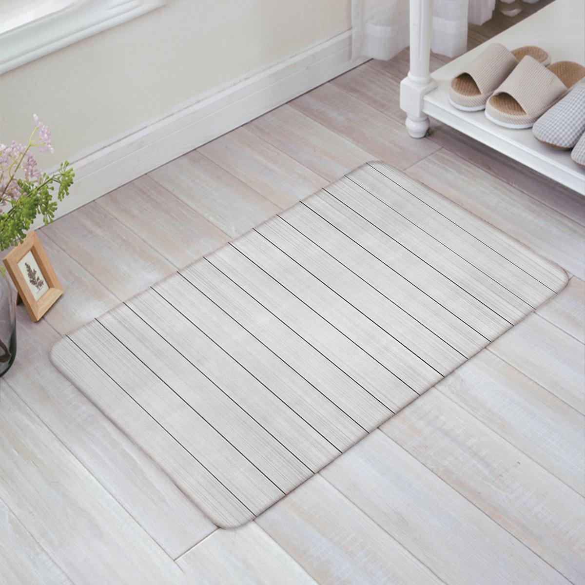 Indoor Doormat Stylish Welcome Mat Light Wood Grain Stripe Entrance Shoe Scrap Washable Apartment Office Floor Mats Front Doormats Non-Slip Bedroom Carpet Home Kitchen Rug 18''x30''
