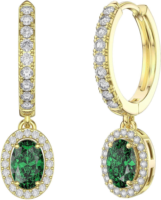 Eternity - Pendientes de aro de oro de 18 quilates con circonita cúbica esmeralda y zafiro blanco ovalado