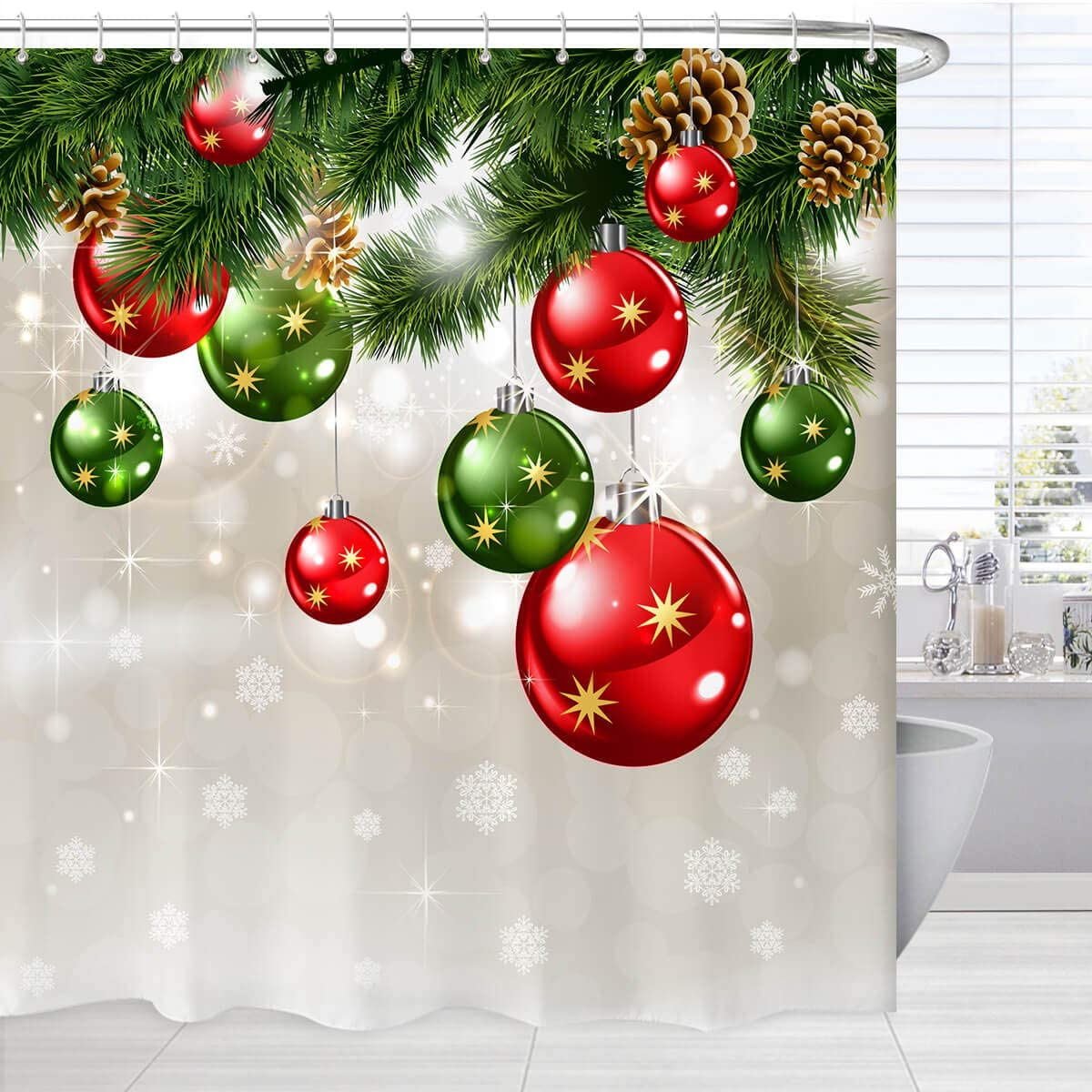 Amazon Com Broshan Green Christmas Shower Curtain Set Merry Xmas Baubles On Pine Tree Twig Art Print Holiday Bath Bathtub Curtain Christmas Fabric Bathroom Shower Curtains With Hooks Kitchen Dining