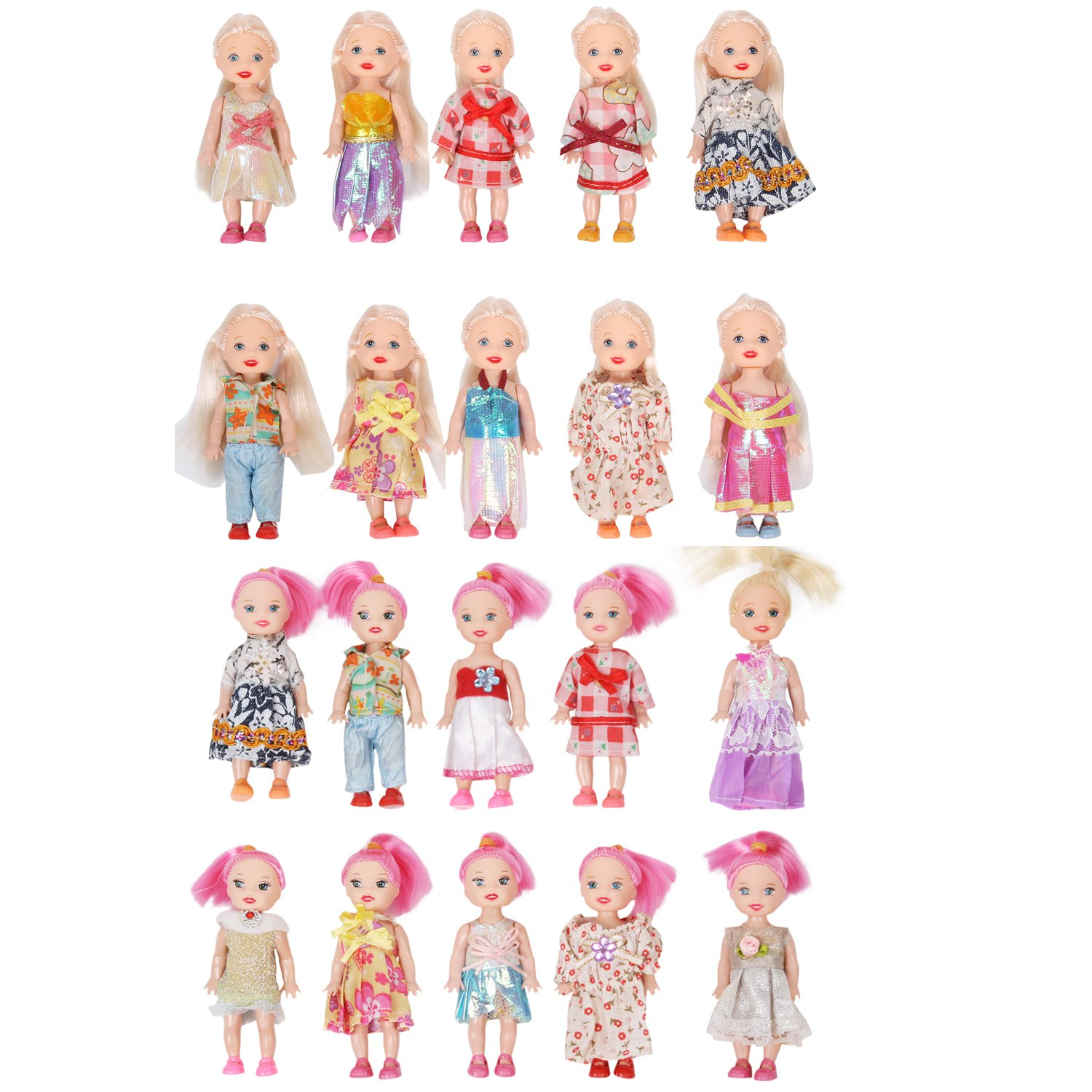 Color-hair 3'' Barbie Doll Pack of 10 Mini Size Movable Limbs cheng hai
