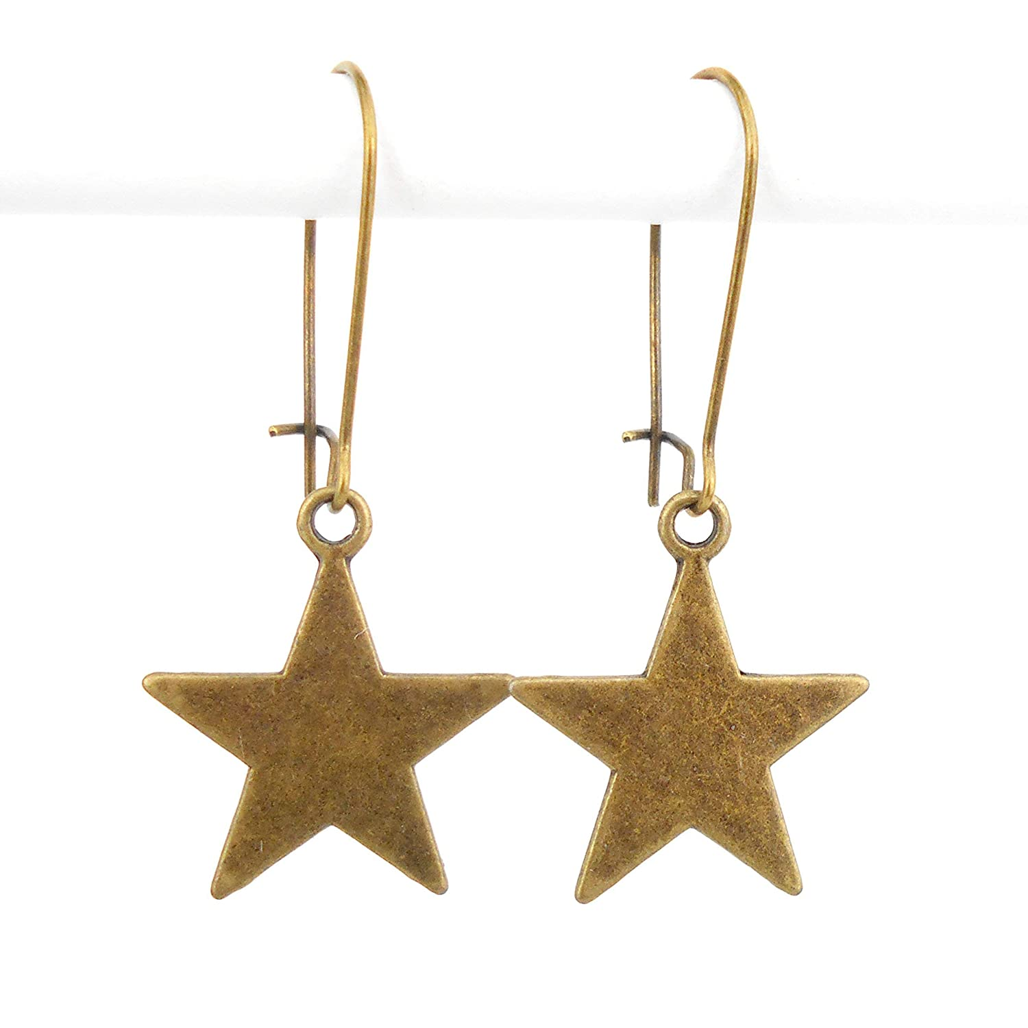 Star Earrings on Mid Length Earwires with an Antique Bronze finish includes gift box