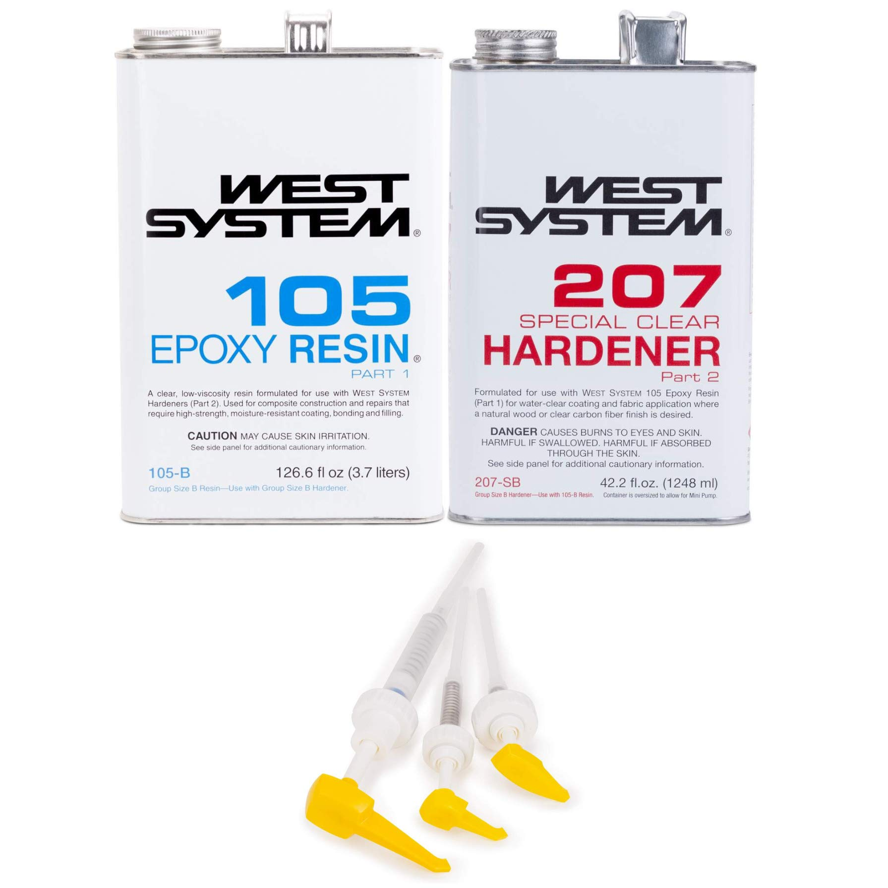 West System 105-B Epoxy Resin (.98 gal) With 207-B Special Clear Epoxy Hardener (.33 gal) and Epoxy Metering Pump Set by WEST SYSTEM