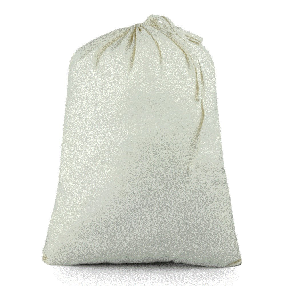 ToteBagFactory Cotton Drawstring Muslin Pouches Drawstring Favor Bags (Pack of 12) (12'' x 16'')