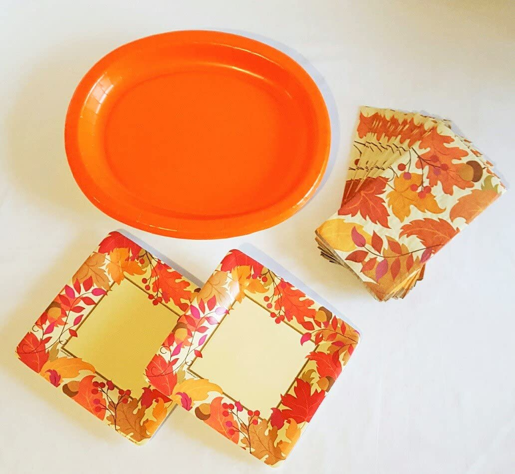Thanksgiving Fall Disposable Dinnerware Set For 16 Guests Including Large Dinner Platters Dessert Plates And Guest Towels Kitchen Dining