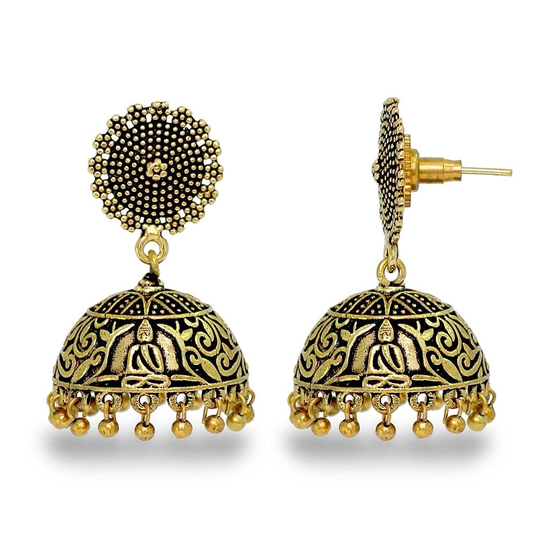 Jaipur Mart Indian Traditional Look Oxidised German Plated Handmade Jhumka Jhumki Earrings Gift For Women