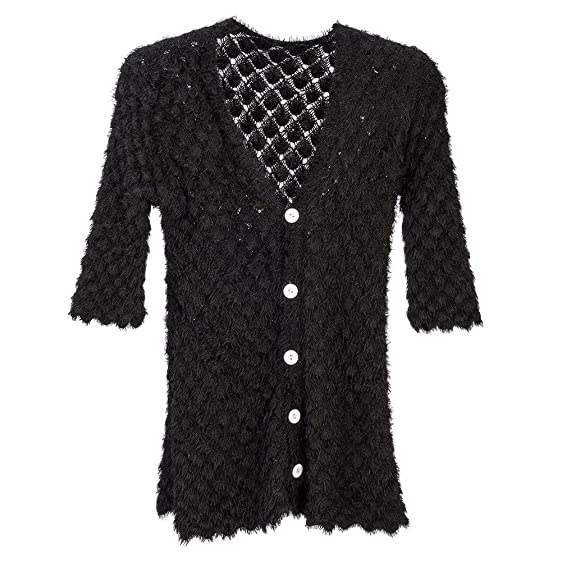 Black Button Up Knit Sweater at Amazon Women's Clothing store: