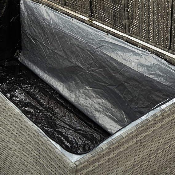 Irfora Garden Storage Box Versatile Outdoor Storage Box Elevated Feet Poly Rattan Water Resistant 200x50x60 cm Grey