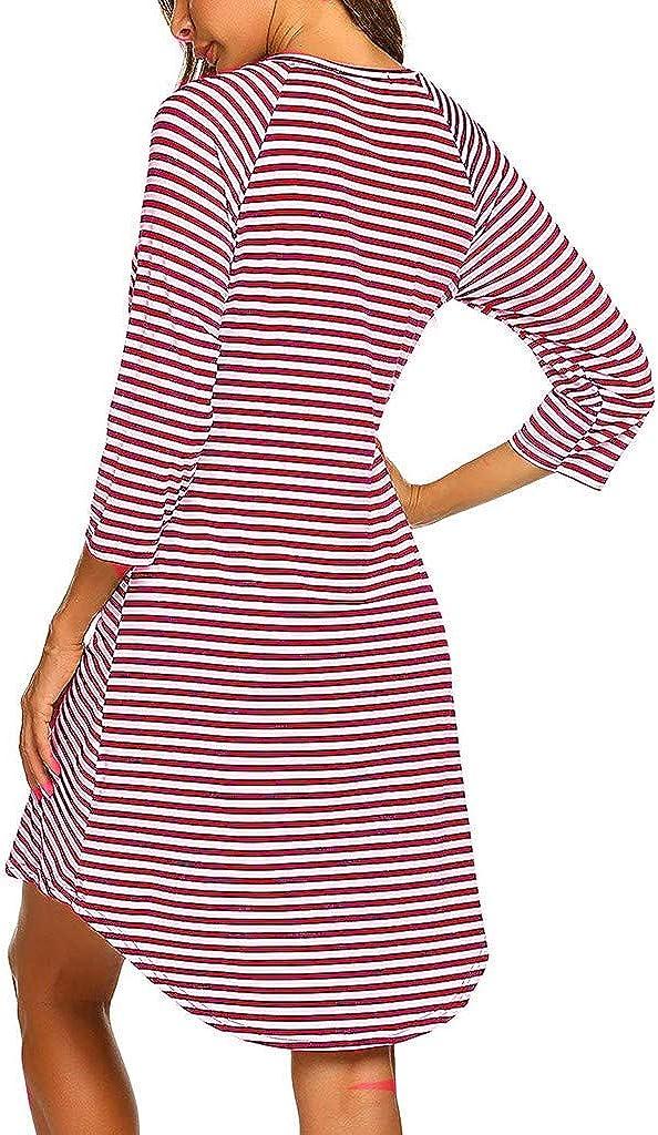 Vestido de Lactancia Maternidad de Noche Rayas Camis/ón Mujeres Embarazadas Ropa de Dormir Premam/á Pijama