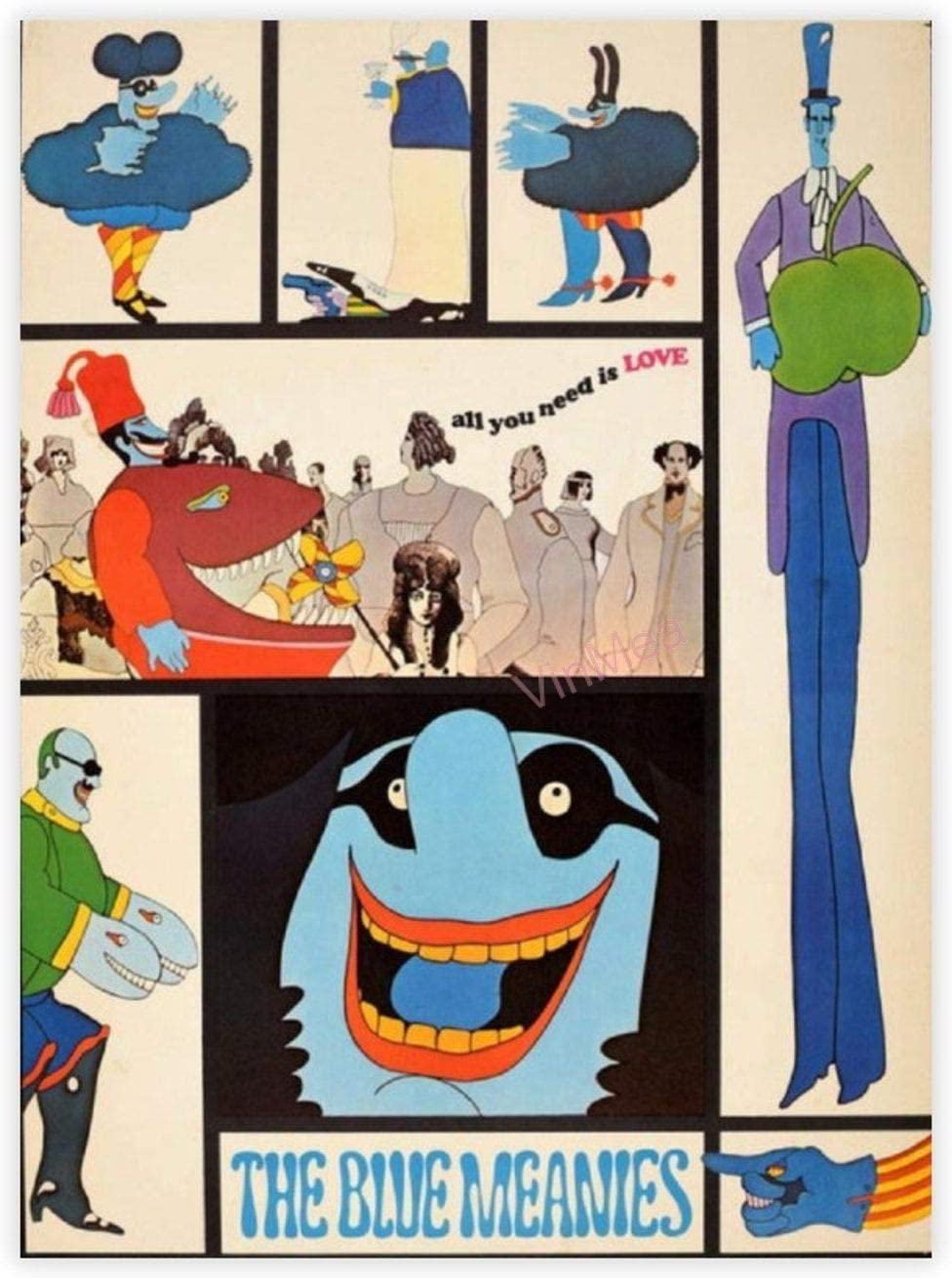 VinMea Unframed Decorative Art Printing Poster The Blue Meanies Yellow Submarine Film The Beatles Music Paper Poster Printing - Wall Art Print Home Decor 12 X 16 Inch