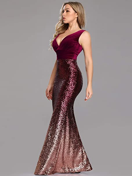 Women's Double V-Neck Sequins Patchwork Mermaid Dress