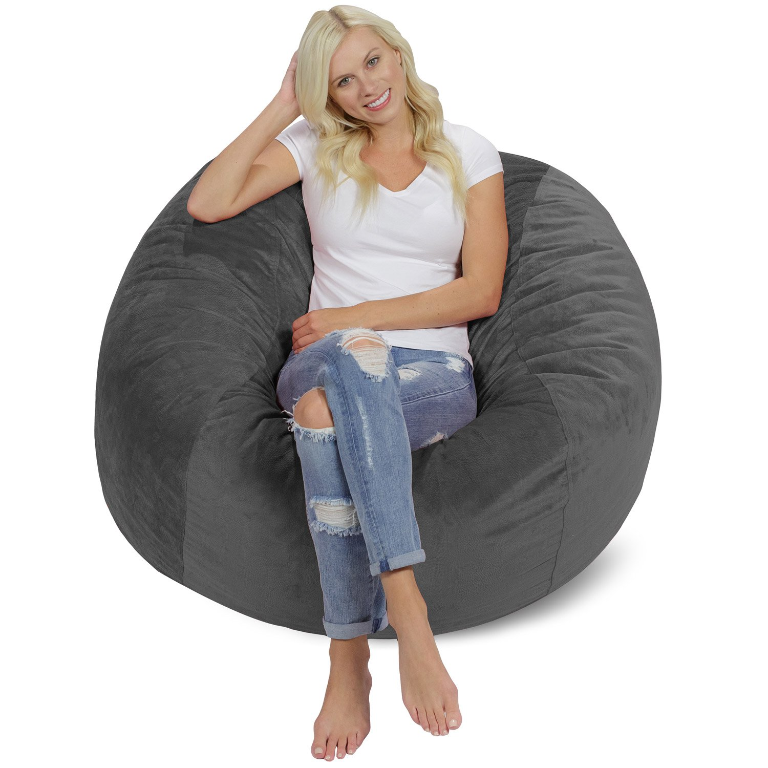 Chill Sack Bean Bag Chair: Giant 4' Memory Foam Furniture Bean Bag - Big Sofa Soft Micro Fiber Cover - Charcoal GT Ventures -- DROPSHIP AMZ-4SK-MS03