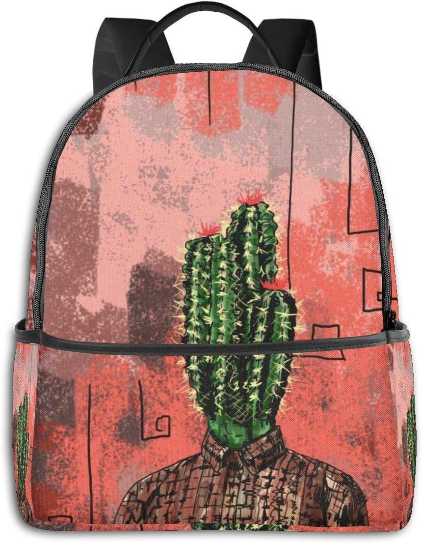 Cactus Men Head Art Plant Multi-Functional College Bags Students High School Girls Casual Daypack Kids Travel Backpack School Laptop Bookbags Teens Boy Outdoor Accessories