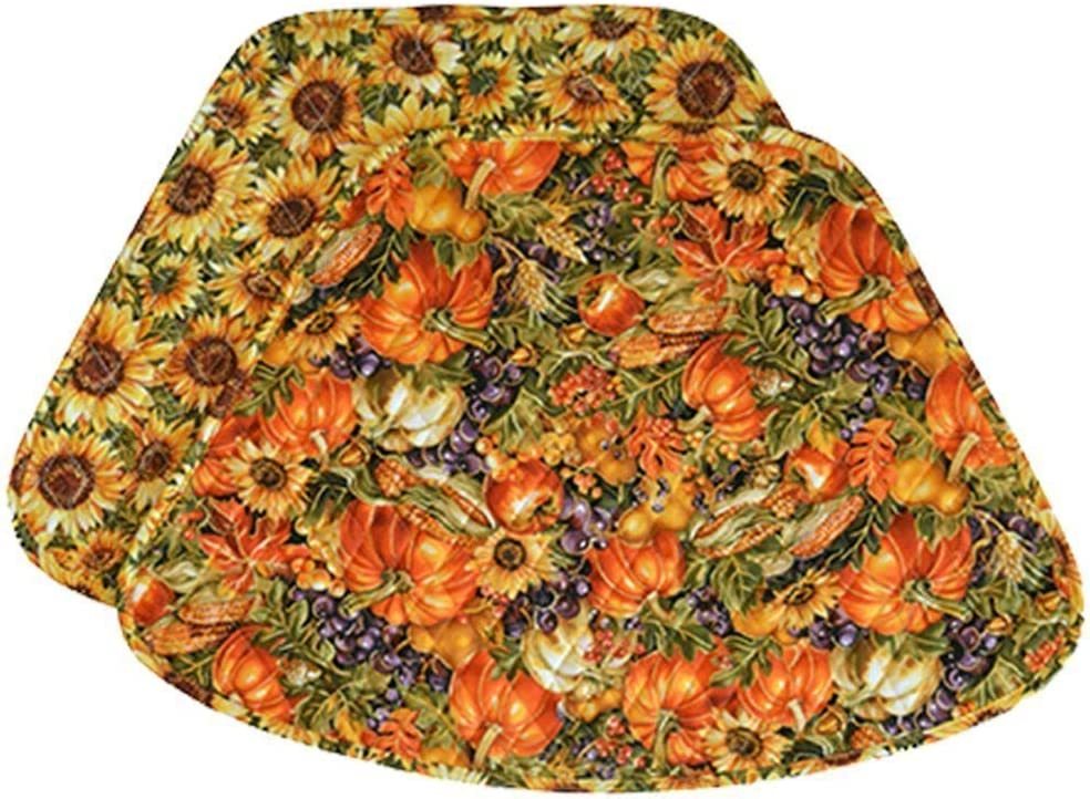 Sweet Pea Linens Fall Sunflower Harvest Print Quilted Wedge-Shaped Placemats - Set of Two